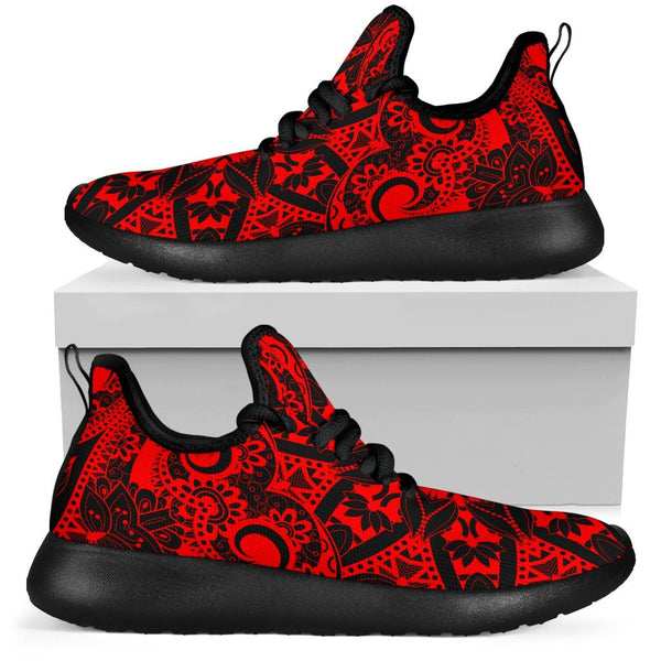 Red Mandala Mesh Knit Sneakers Mesh Knit Sneakers Electro Threads