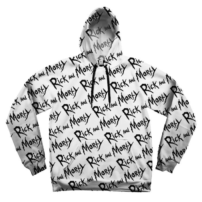 Rick and Morty Black on White Hoodie Pullover Hoodies Electro Threads