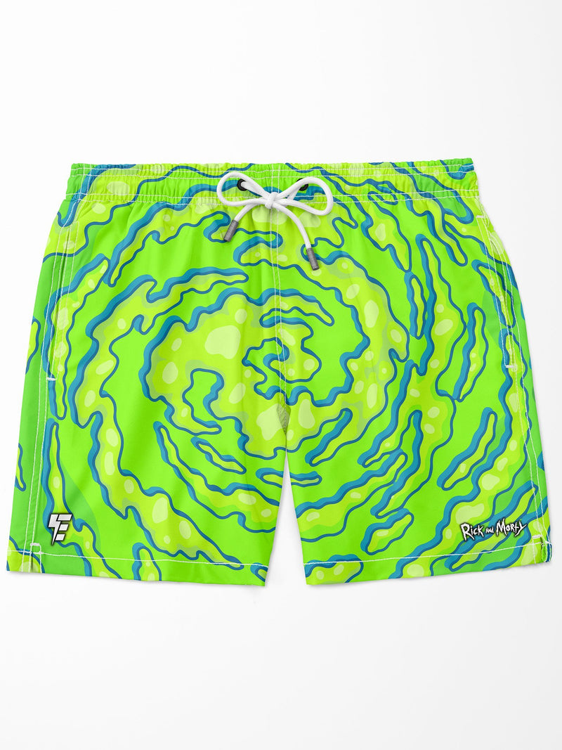 Rick and Morty | Neon Swim Trunks Mens Swim Trunks Electro Threads
