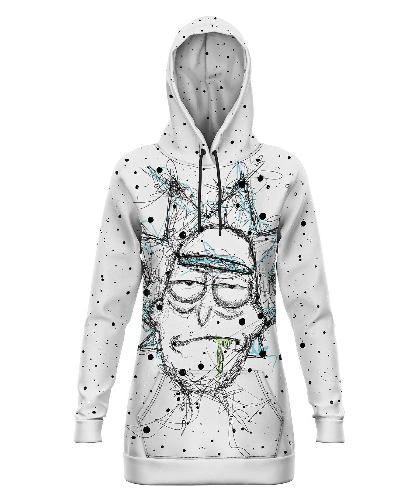 Rick and Morty | Scribble Rick Hooded Dress Electro Threads