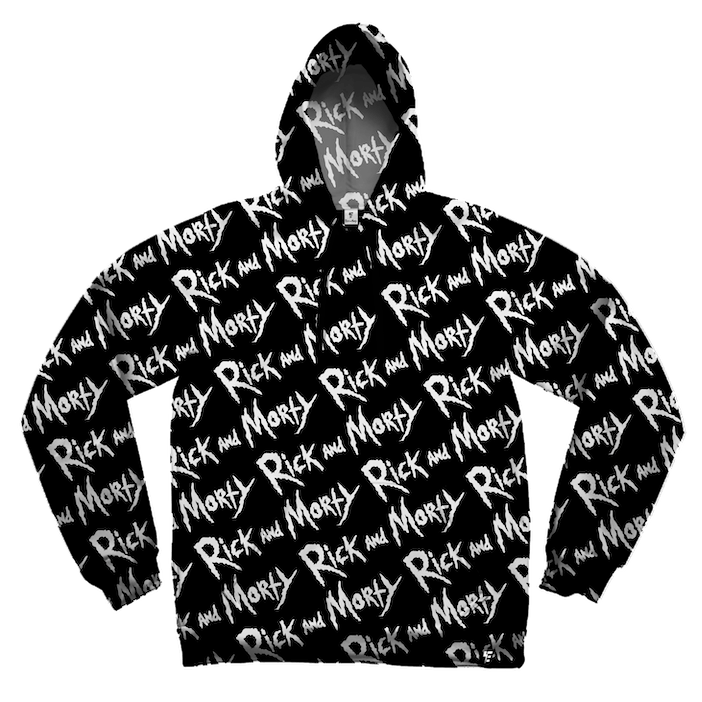 Rick and Morty White on Black Hoodie Pullover Hoodies Electro Threads