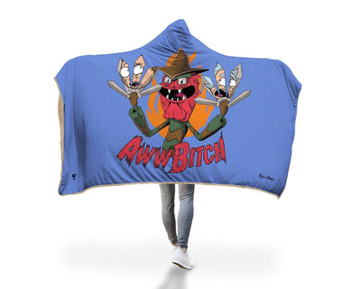 "Scary Terry Hooded Blanket Hooded Blanket Electro Threads PREMIUM SHERPA Adult 60""X80"" Blue"