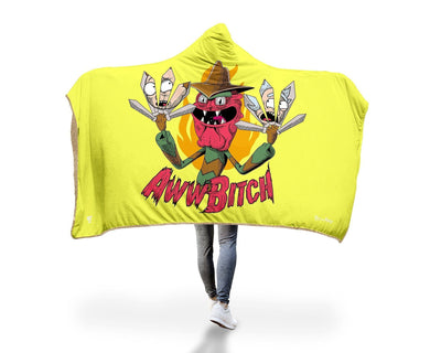 "Scary Terry Hooded Blanket Hooded Blanket Electro Threads PREMIUM SHERPA Adult 60""X80"" Yellow"