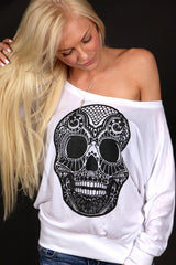Skull Off Shoulder Long Sleeve + Fabric Markers Bundle Electro Threads Small White