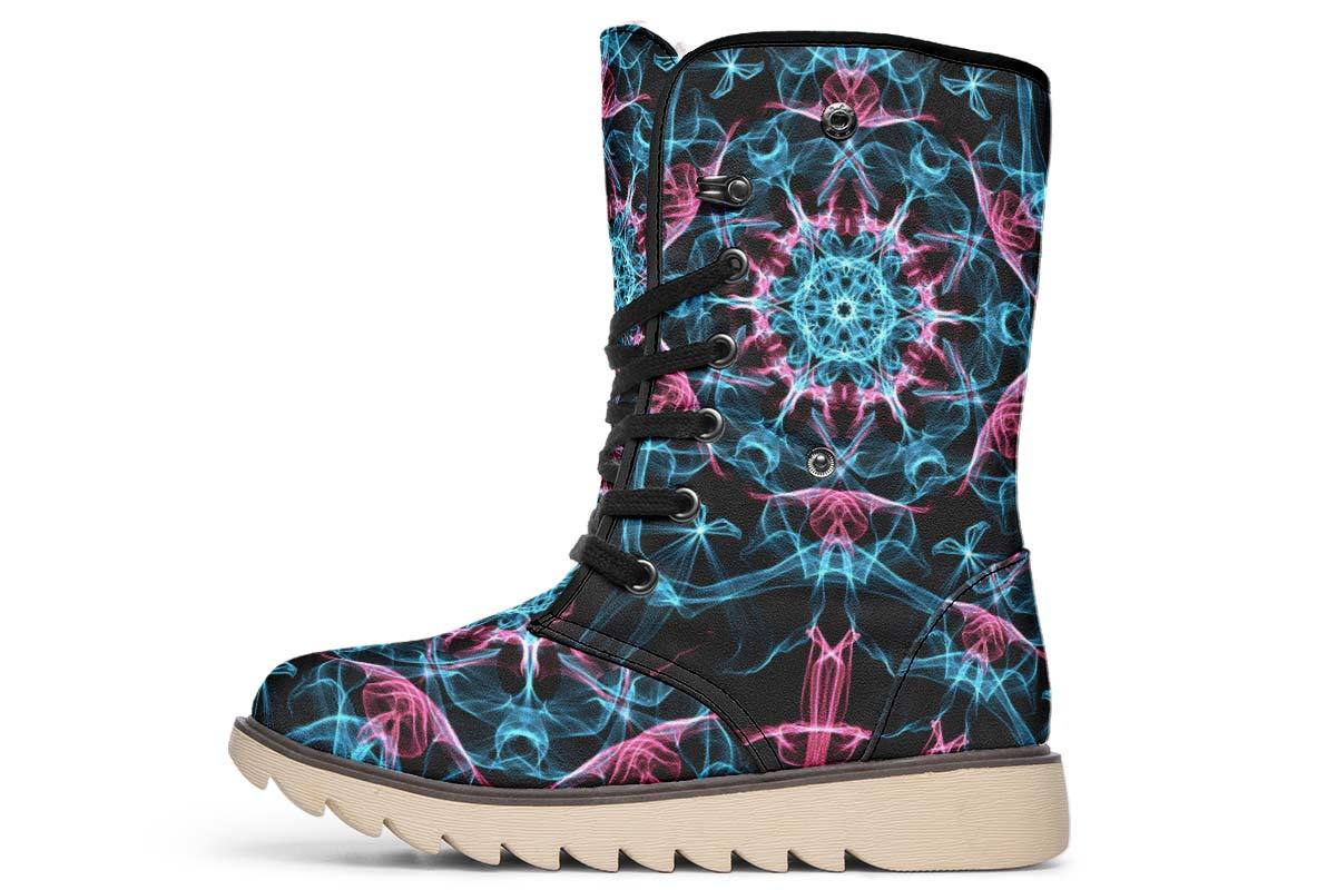 Smokey Blue Mandala Moon Boots YWF Women's Moon Boots Cream White Sole US 4.5 / EU35