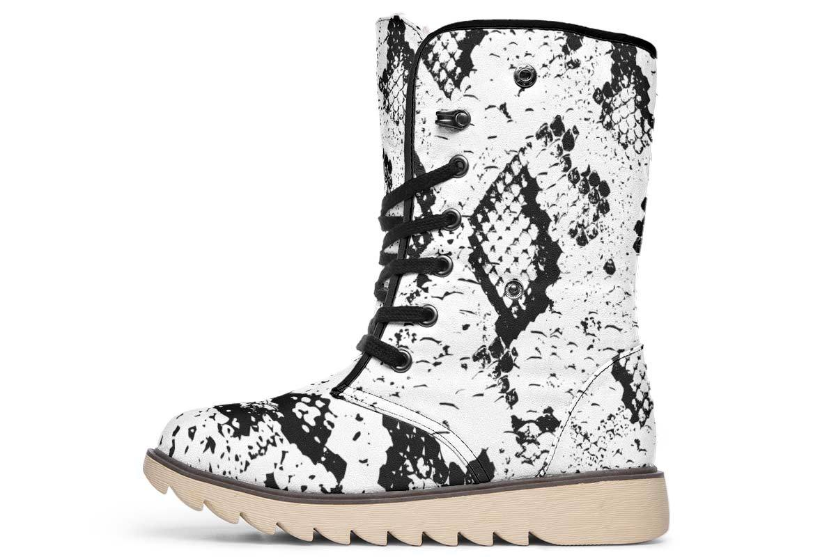Snake Skin Moon Boots YWF Women's Moon Boots Cream White Sole US 4.5 / EU35