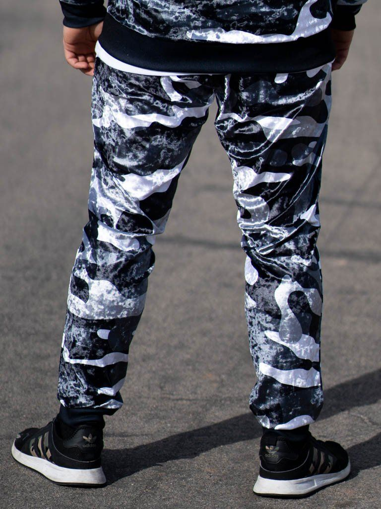 Snow Camo Crushed Velvet Unisex Joggers Jogger Pant Electro Threads