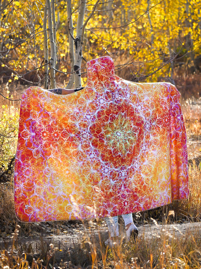 Solar Flare Mandala Hooded Blanket Hooded Blanket Electro Threads