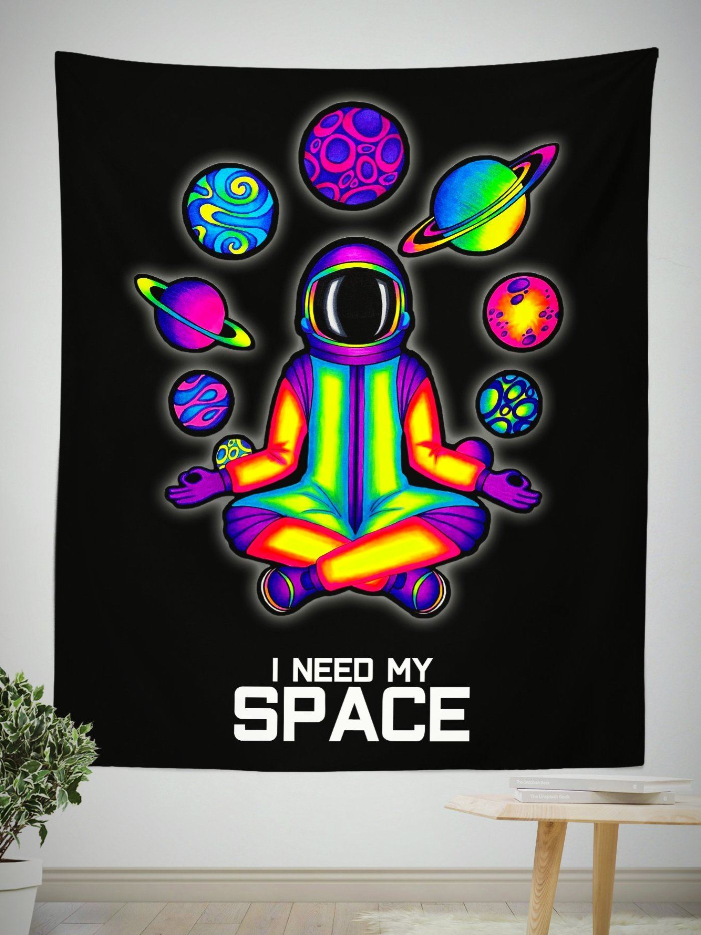 "SPACE ACIDNAUT Wall Tapestry Tapestry Electro Threads S: 32"" x 42"" Black"