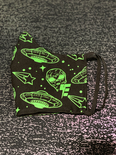 Space Drip Face Mask Face Masks Electro Threads Neon Green