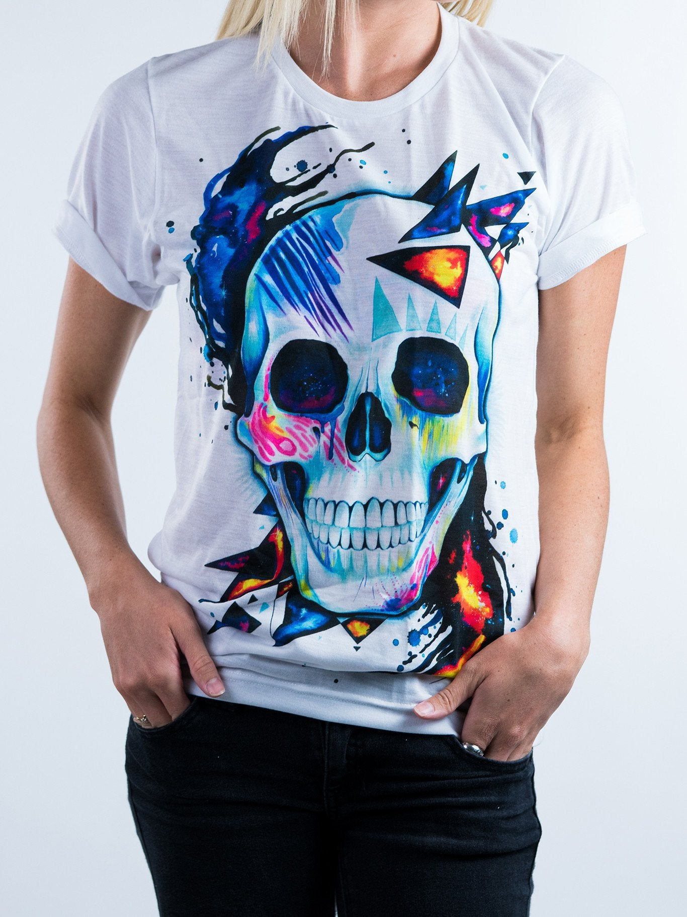 Space Skull Unisex Crew T-Shirts Electro Threads X-Small