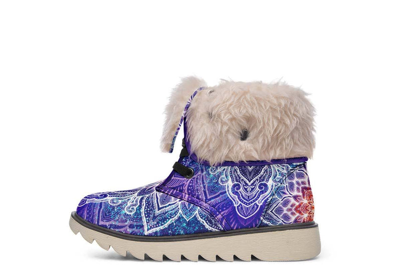 Spark Of Joy Mandala Moon Boots YWF Women's Moon Boots Cream White Sole US 4.5 / EU35