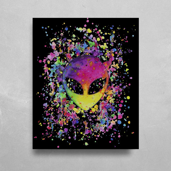 Splatter Alien HD Metal Panel Print Ready to Hang HD Metal Print Electro Threads