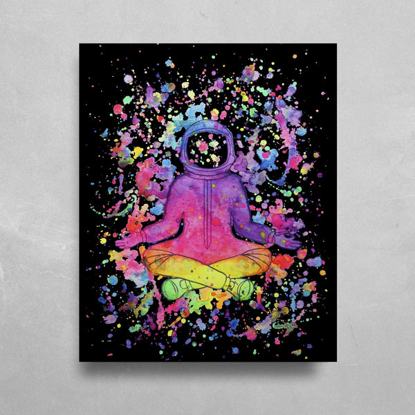 Splatter Astronaut HD Metal Panel Print Ready to Hang HD Metal Print Electro Threads