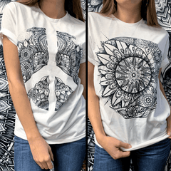 Sun and Moon Mandala + Peace Sign Mandala Unisex Crew Bundle Bundle Electro Threads
