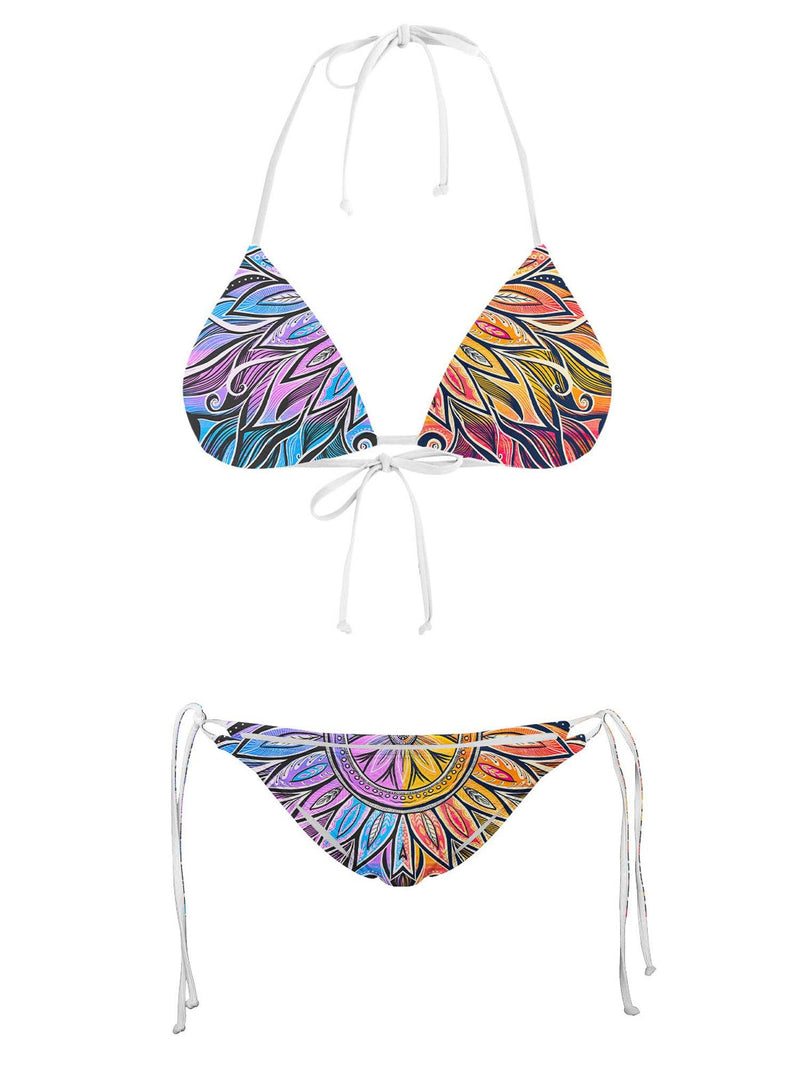 Sun & Moon-Ray Mandala Bikini Top Bikini Tops Electro Threads 2XS Top