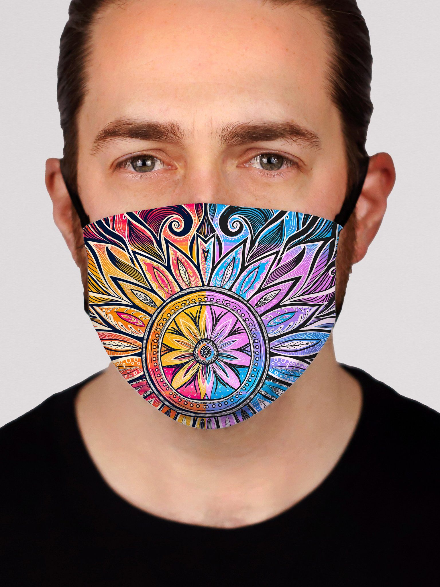 Sun & Moon-Ray Mandala Face Mask Face Masks Electro Threads 8 INCHES Sun & Moon-Ray