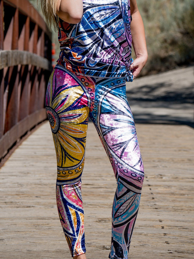 Sun & Moon Ray Mandala (Mashup) Tights Tights Electro Threads