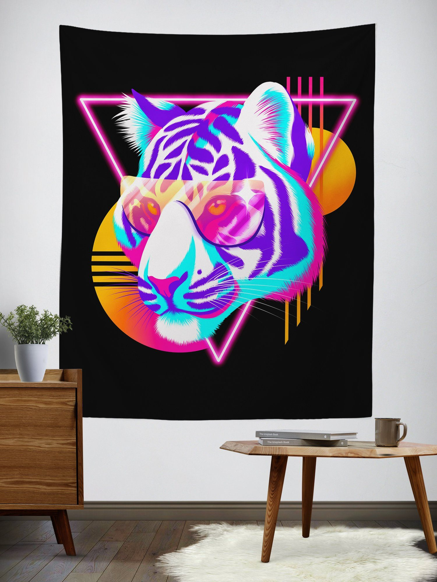 Synthwave Tiger Tapestry Tapestry Electro Threads