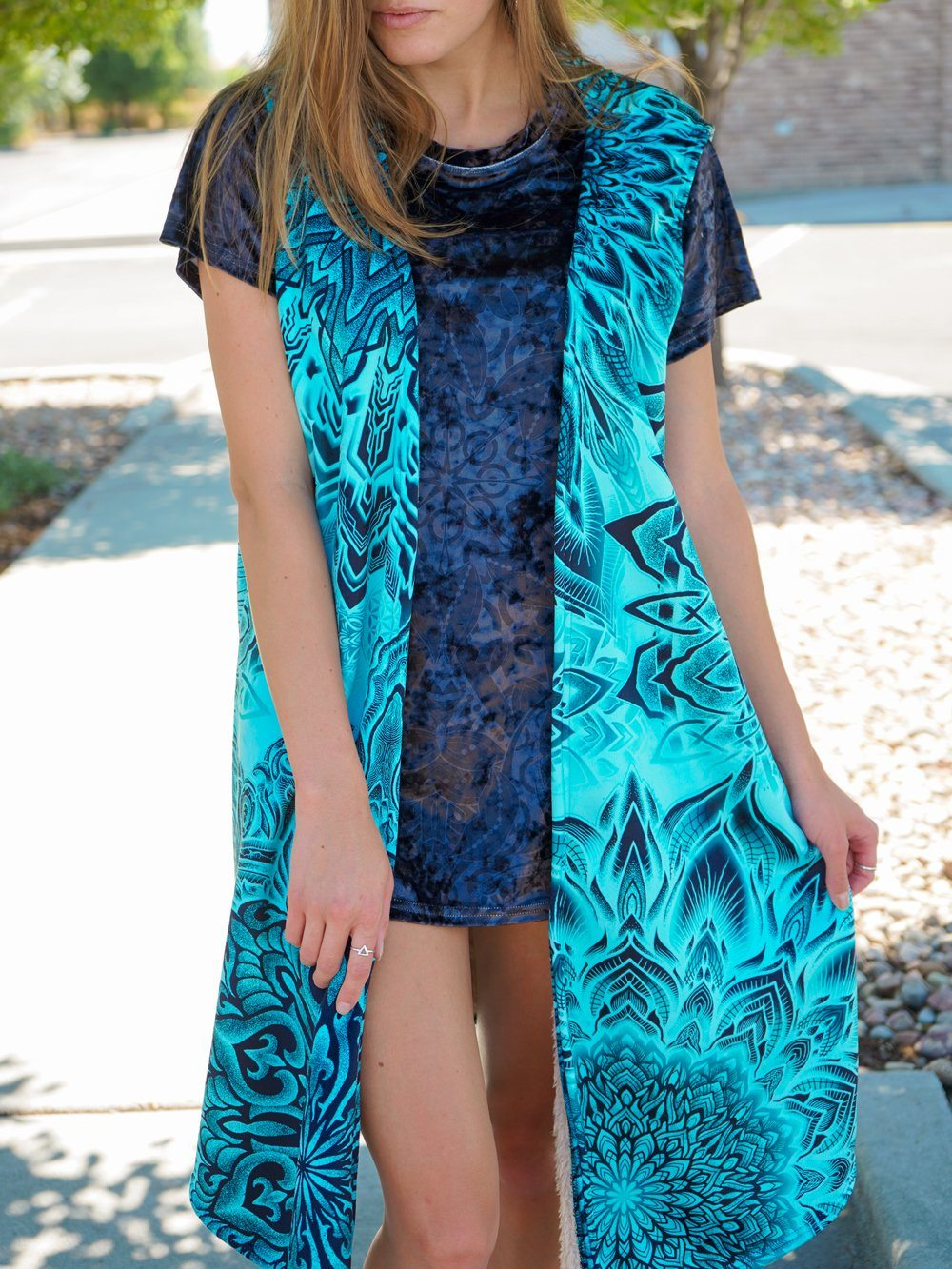Teal Mandala Burn Summer Dream Cloak Dream Coat Electro Threads