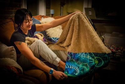 TEAL MANDALA FOOTSIE BLANKET Footed Blanket Electro Threads