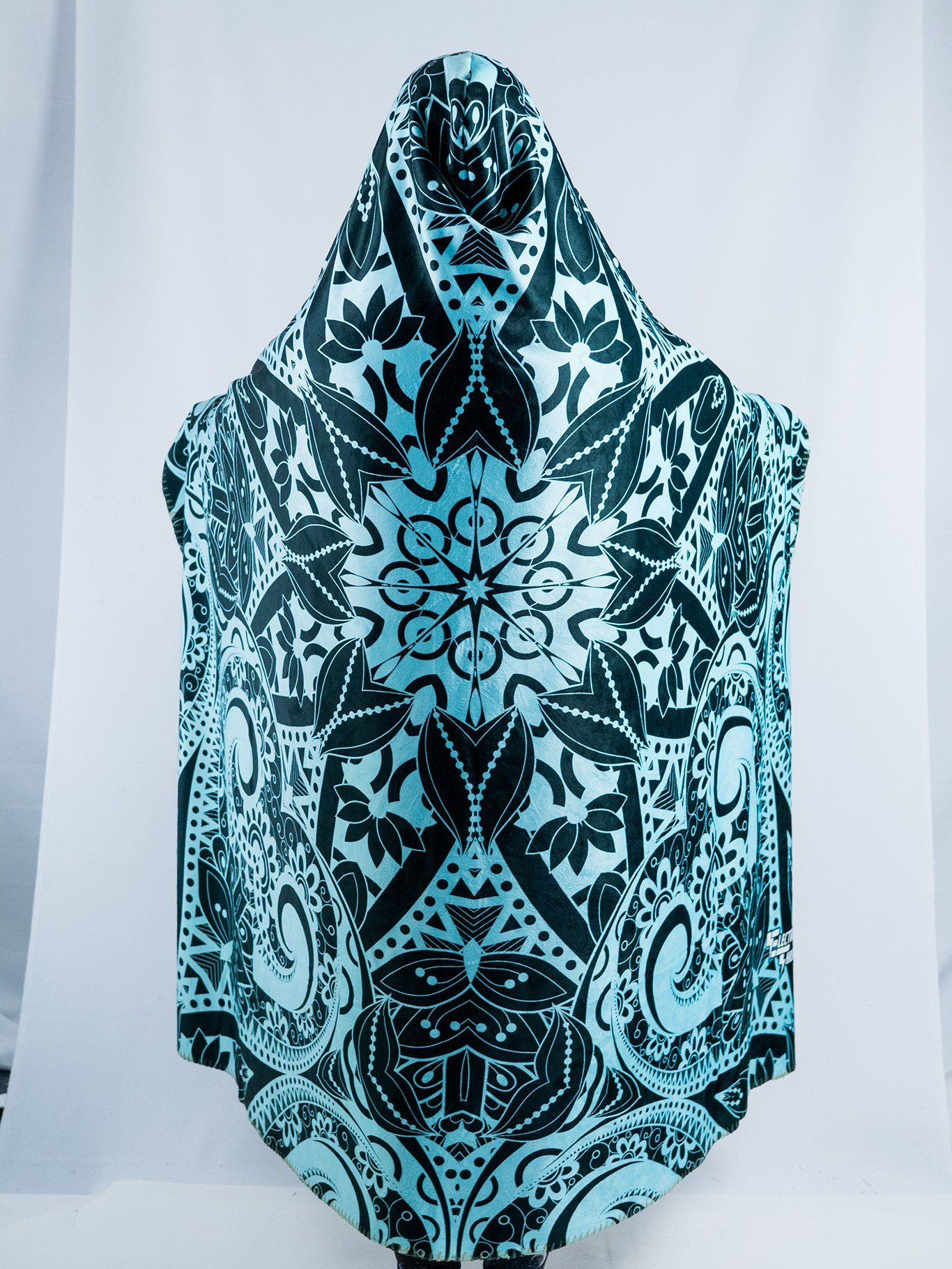 Teal Mandala Hooded Blanket Hooded Blanket Electro Threads