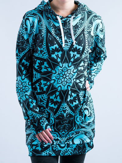 Teal Mandala Hooded Dress Hoodie Dress T6