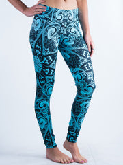 Teal Mandala Leggings Leggings T6