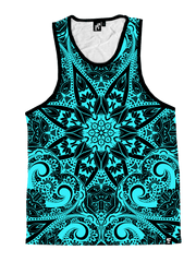 Teal Mandala Unisex Tank Top Tank Tops T6 X-Small Teal/Black