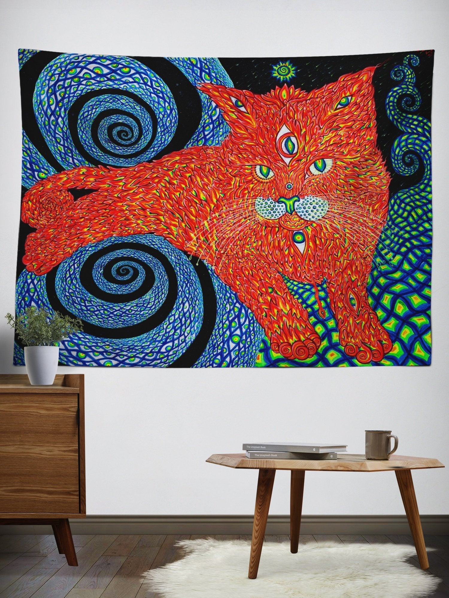 The Cat That Brings Love Wall Tapestry Tapestry Electro Threads