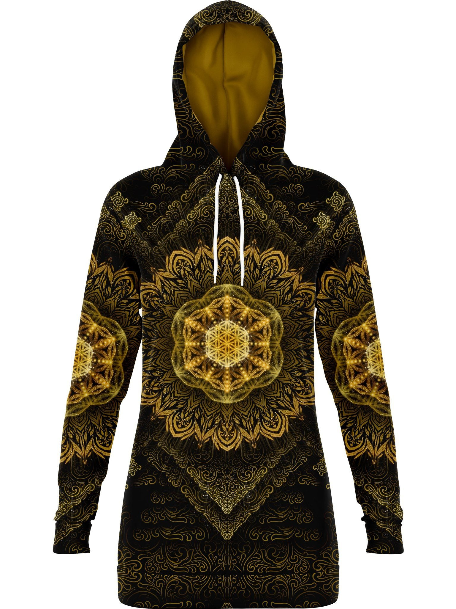 Tibetan Mantra Hooded Dress Hoodie Dress Electro Threads