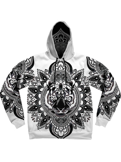 Tiger Mandala (Black & White) Unisex Hoodie Pullover Hoodies Electro Threads