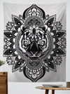 "Tiger Mandala Tapestry Tapestry Electro Threads Large 60""X80"" Black & White Regular"