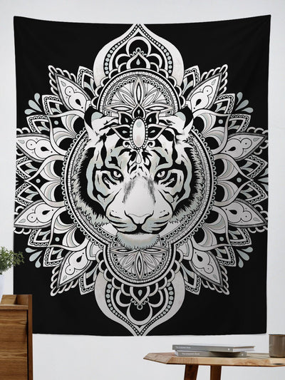 "Tiger Mandala Tapestry Tapestry Electro Threads Large 60""X80"" White & Black Regular"