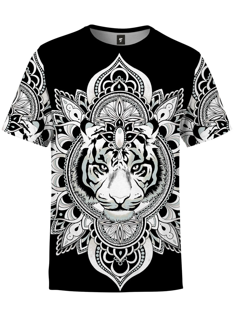 Tiger Mandala Unisex Crew T-Shirts Electro Threads XS Black & White Regular