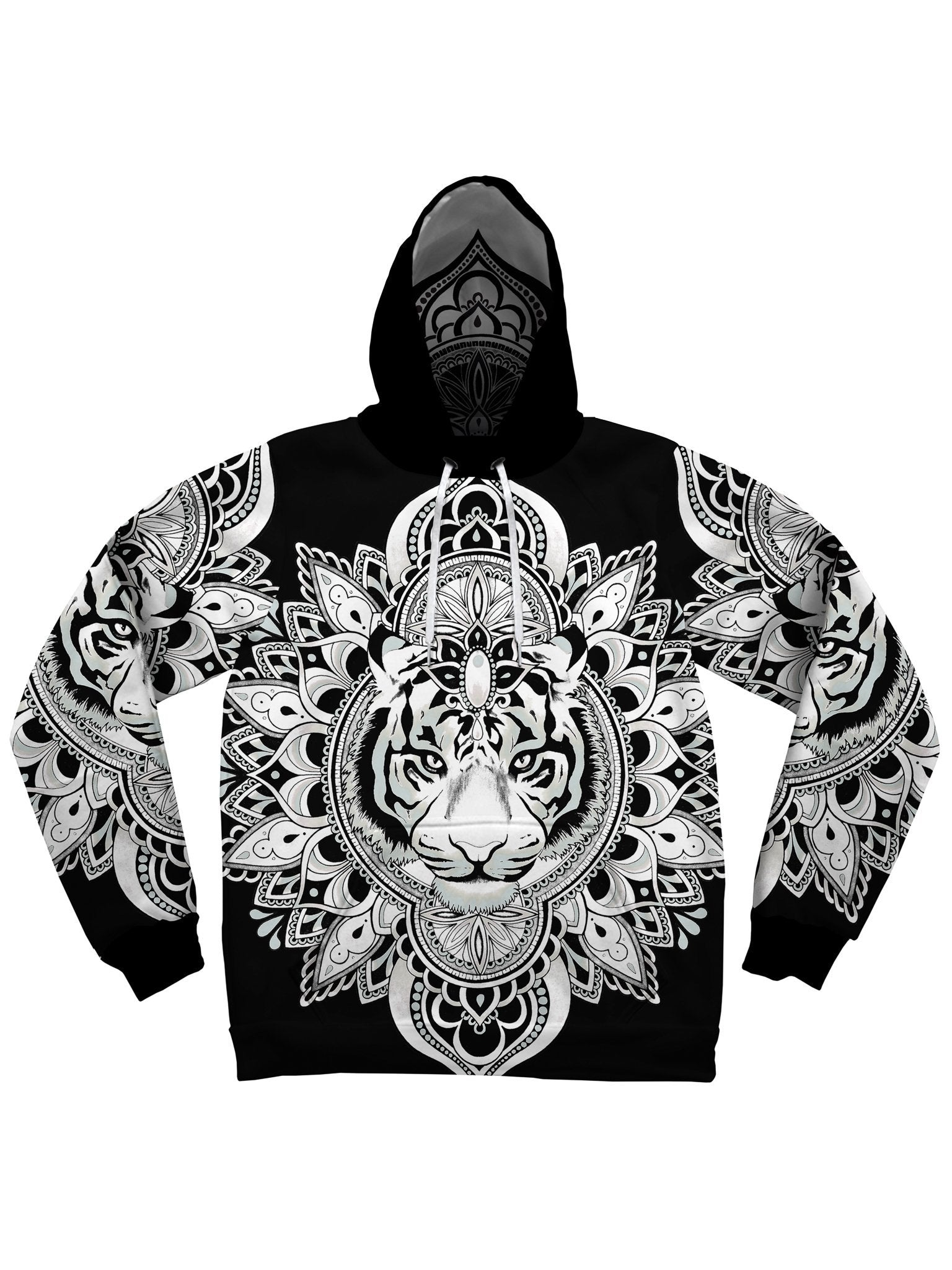 Tiger Mandala (White & Black) Unisex Hoodie Pullover Hoodies Electro Threads