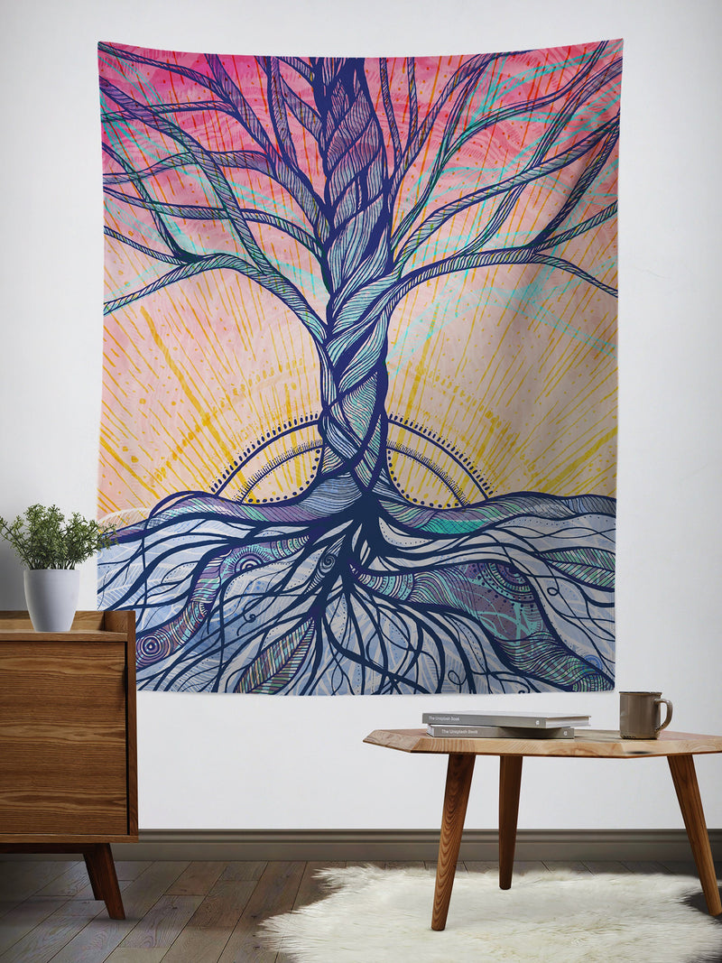 Tranquilitree Wall Tapestry Tapestry Electro Threads