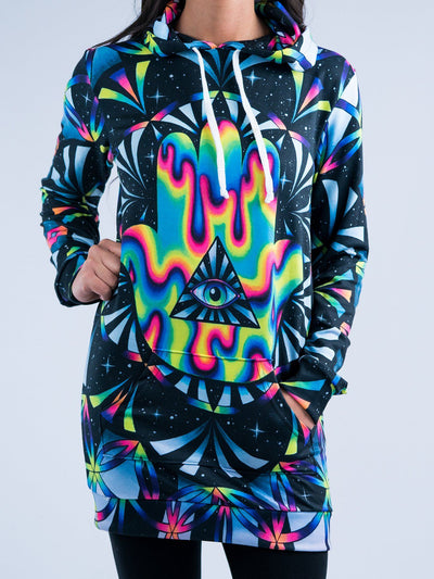 Trippy Hamsa Hooded Dress Hoodie Dress T6 XS Black