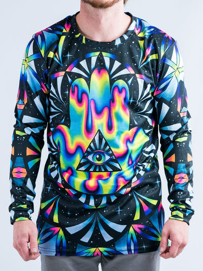 Trippy Hamsa Jersey Long Sleeve Shirt Long Sleeve T6 XS Black