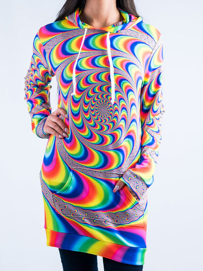Trippy Spiral Hooded Dress Hoodie Dress T6