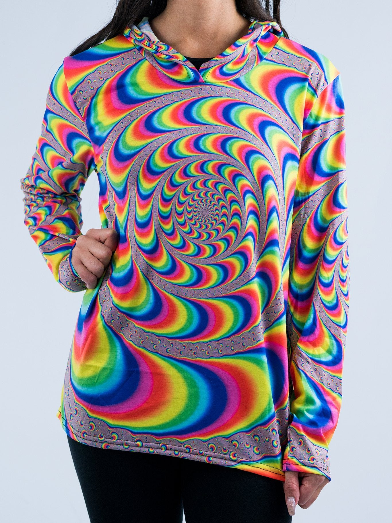 Trippy Spiral Unisex Hooded Long Sleeve Shirt Long Sleeve T6