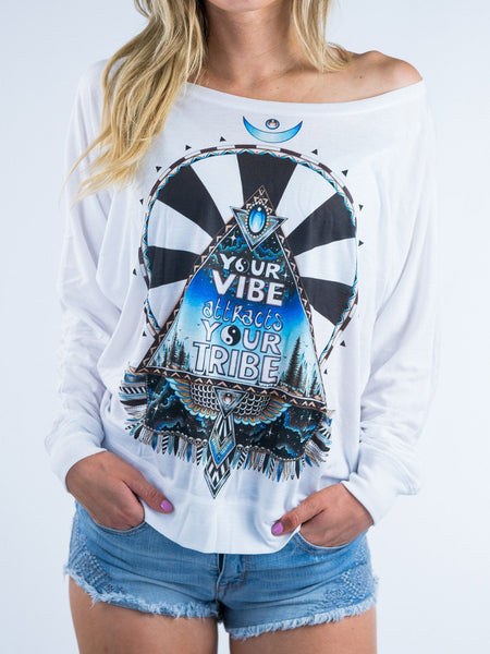 Vibe Tribe Flowy Off Shoulder Off Shoulder Electro Threads X-Small White