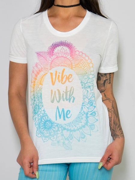 Vibe With Me Unisex Crew T-Shirts Electro Threads XS Blue