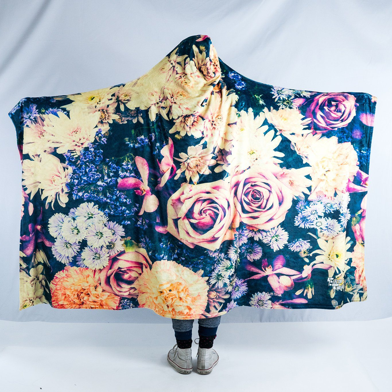 Vintage Flowers Hooded Blanket Hooded Blanket Electro Threads