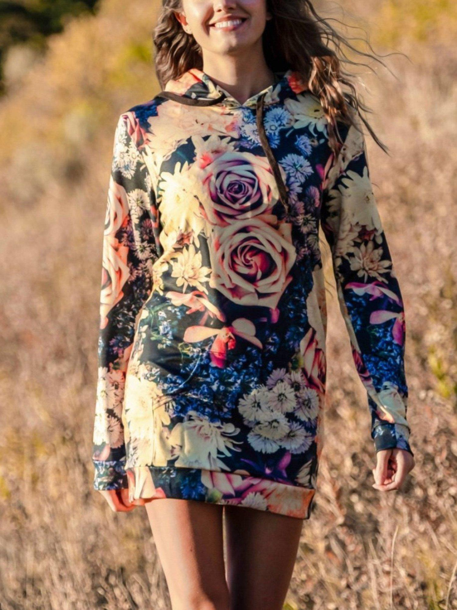 Vintage Flowers Hooded Dress Hoodie Dress T6