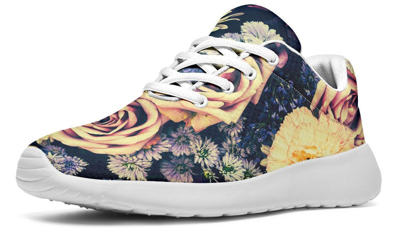 Vintage Flowers Sneakers YWF Women's Sneakers Black Sole US 5.5 / EU36