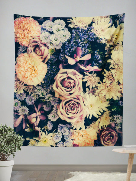 Vintage Flowers Wall Tapestry Tapestry Electro Threads