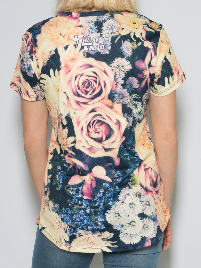 Vintage Flowers Women's V-Neck Tee T-Shirts T6