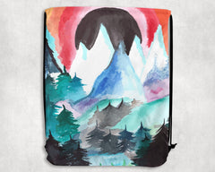 Watercolored Mountains Draw String Shoulder Bag Shoulder Bag Electro Threads
