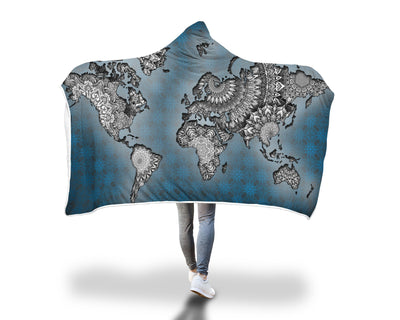 World Map Hooded Blanket Hooded Blanket Electro Threads